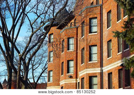 Red brick row houses in Washington DC USA.