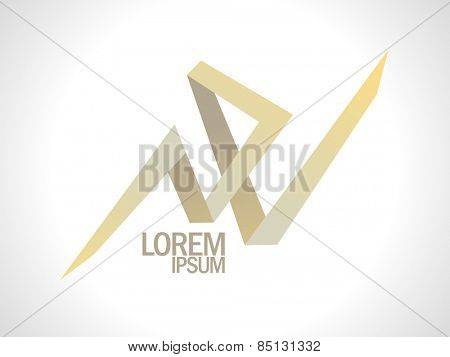 Abstract N and V gold letters logo.