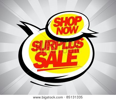 Shop now, surplus sale design in pop-art style.