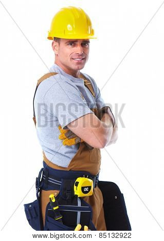 Professional handyman with construction tools. House renovation.