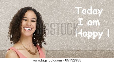 Happy young beautiful woman with a white healthy smile.