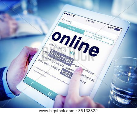 Businessman Digital Dictionary Online Searching Concept