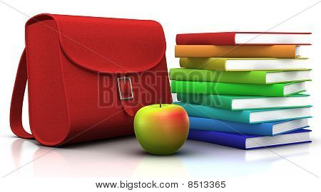 Satchel, Books And Apple