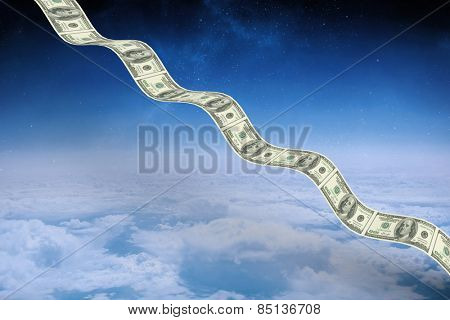 Bumpy dollar road against white clouds under blue sky