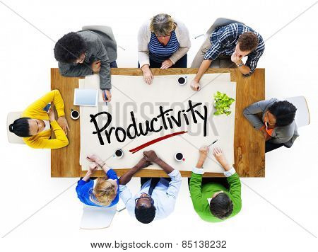 People in a Meeting and Single Word Productivity Concept