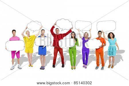 Diverse Diversity Ethnic Ethnicity Variation Speech Bubbles Concept