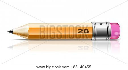 Illustration of a pencil sharpened with reflection on white background.