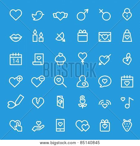 Love romantic and St. Valentine's Day icons, simple and thin line design