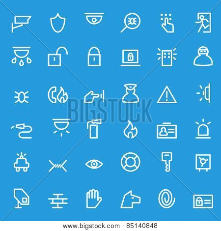 Security icons, simple and thin line design