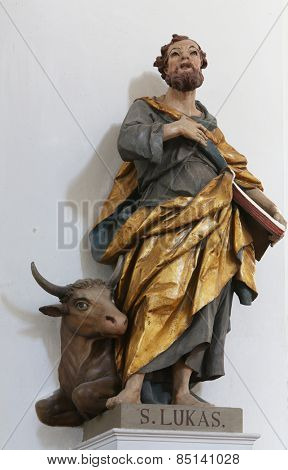 ELLWANGEN, GERMANY - MAY 07: Saint Luke the Evangelist, Basilica of St. Vitus in Ellwangen, Germany on May 07, 2014.