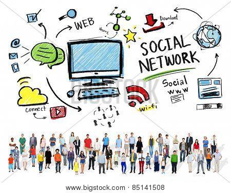 Social Network Social Media Diversity People Community Concept