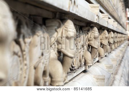 KOLKATA, INDIA - FEB 15: Stone carvings in Birla Mandir (Hindu Temple) in Kolkata, West Bengal in India on Feb 15, 2014. It is one of the largest Hindu temples in Kolkata.