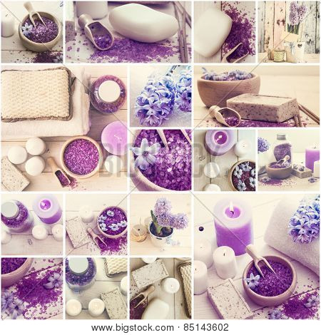 Collage of photos violet bath salt soap and candles
