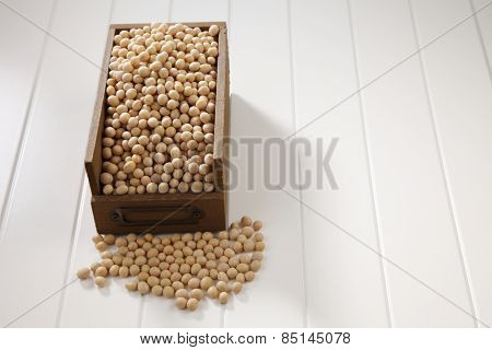 soy beans in a wooden container