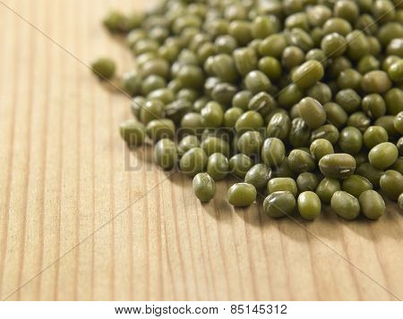green mung beans on the wooden table