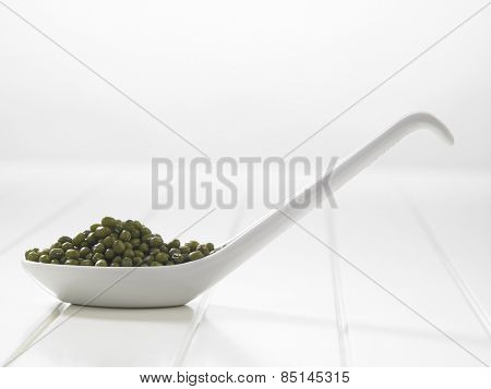 spoon full of the green mung beans