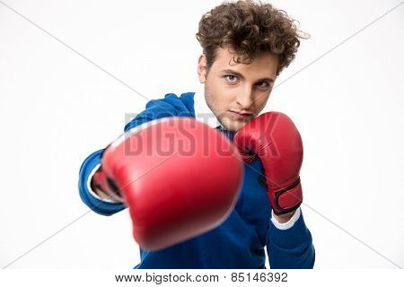 Business man boxing with red gloves
