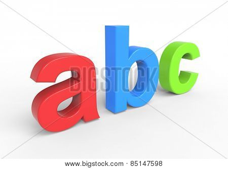 Abc text isolated over white. Computer generated 3D photo rendering.