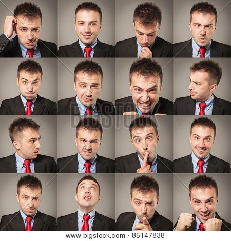 Young business man face expressions composite on gray background. Handsome young man making faces