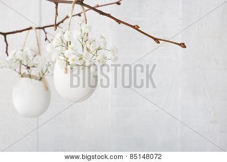 Bunch  of white  baby's breath flowers (gypsophila) in  eggs shell on the white wooden plank.  Shallow depth of field,  focus on near flowers. Easter decor