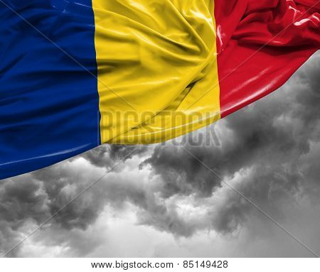 Romanian waving flag on a bad day
