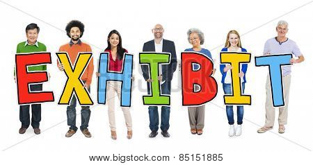 Multiethnic Group of People Holding Exhibit Concept