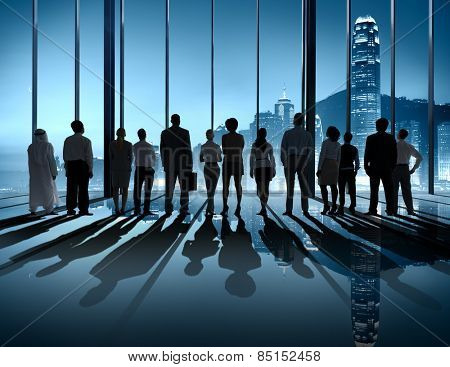 Business People Silhouette The Way Forward Vision Concept