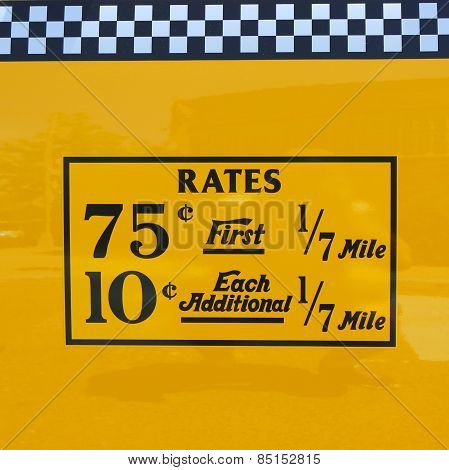 New York City taxi rates decal. This rate was in effect from March 1977 till July 1979