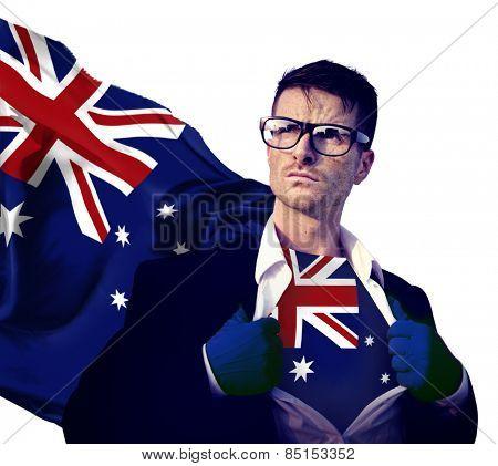 Businessman Superhero Country Australian Flag Culture Power Concept