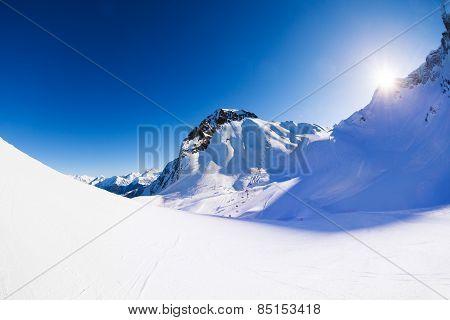Caucasus mountains beautiful winter landscape view