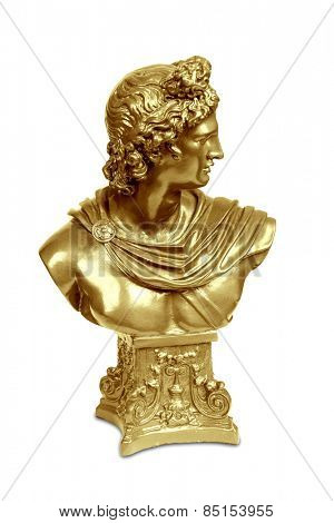 Golden bust sculpture of Apollo Belvedere isolated over white with clipping path.