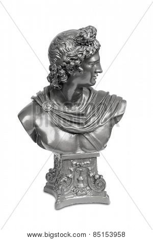 Silver bust sculpture of Apollo Belvedere isolated over white with clipping path.