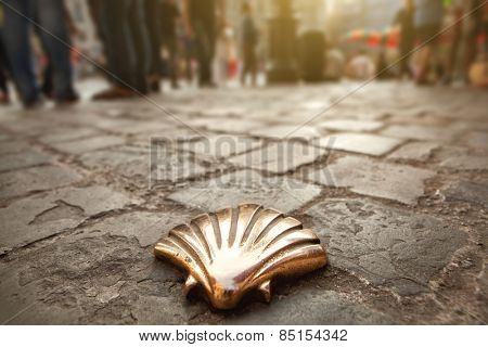 Santiago shell (Pilgrims shell), St James shell in Brussels, Belgium