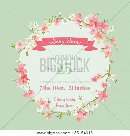 Baby Shower or Arrival Cards - with Spring Blossoms - in vector