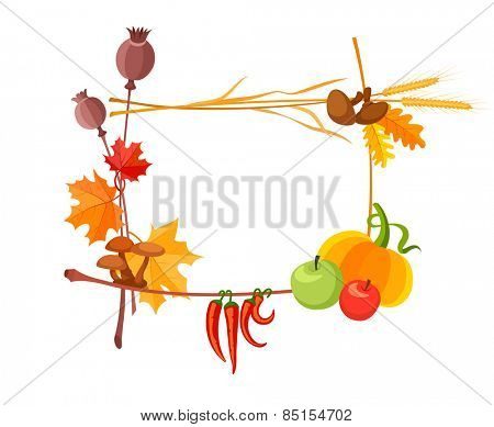 Autumn harvest frame for thanksgiving day. Eps10 vector illustration