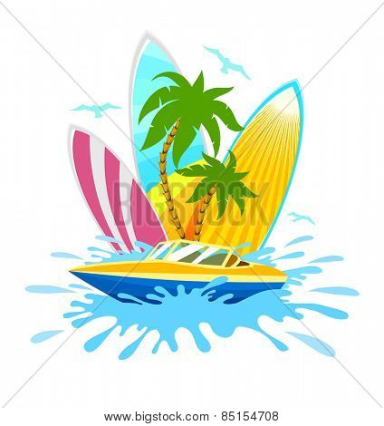 Travel tropical active rest and sports. Eps10 vector illustration. Isolated on white background