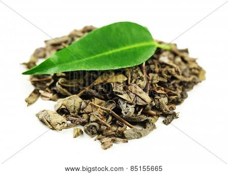 Green tea with leaf isolated on white