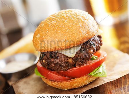 tasty gourmet burger with french fries in slanted composition