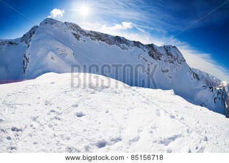Russian winter landscape of Caucasus mountains