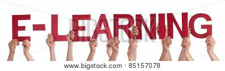 Many People Hands Holding Red Straight Word Elearning