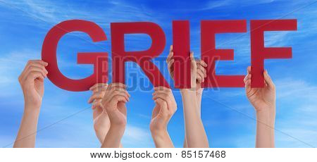 Many People Hands Holding Red Straight Word Grief Blue Sky
