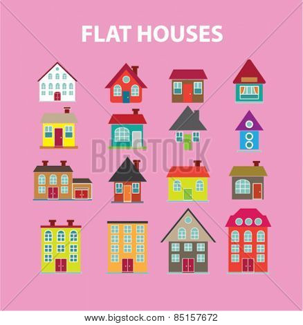 flat houses, buildings icons, signs, illustrations concept design set, vector