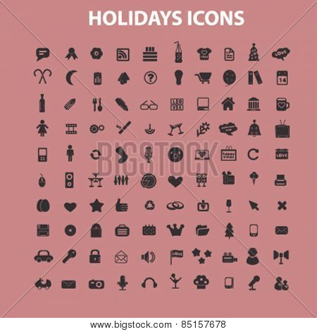 holidays, events, party holidays, icons, signs, illustrations concept design set, vector