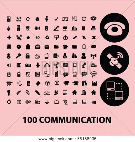 100 communication, connection, technology, phone icons, signs, illustrations concept design set, vector