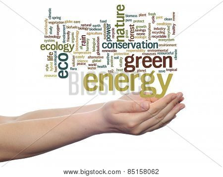 Concept or conceptual abstract green ecology, conservation word cloud text in man hand on white background for environment, recycle, earth, clean, alternative, protection, energy, eco friendly or bio