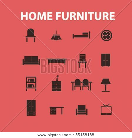 home furniture icons, signs, illustrations concept design set, vector