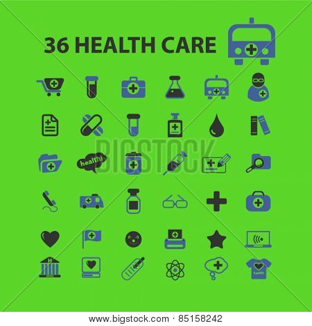 36 health care, medicine, hospital icons, signs, illustrations concept design set, vector