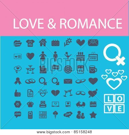 love, romance, relations, family icons, signs, illustrations concept design set, vector