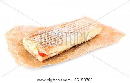 Tasty sandwich on paper isolated on white