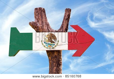 Mexico Flag sign with sky background